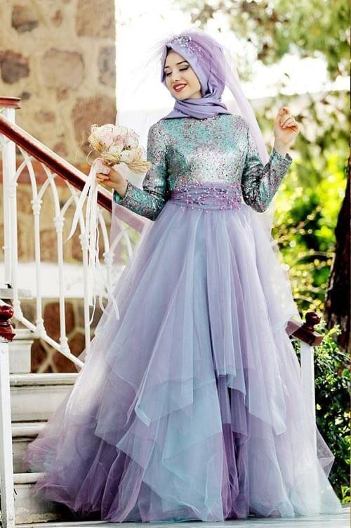 69392fe292ec9 İnci Desenli Tesettür Kabarık Abiye Modelleri   Beautiful Islamic ...