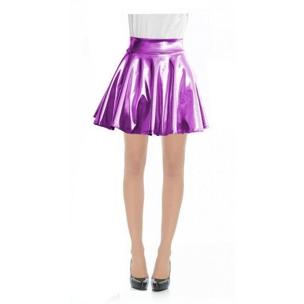 Women Faux Leather Full Circle Skater Skirt at Amazon Women's Clothing... ($16) ❤ liked on Polyvore featuring skirts, white circle skirt, white skater skirt, white faux leather skirt, circular skirt and fake leather skirt
