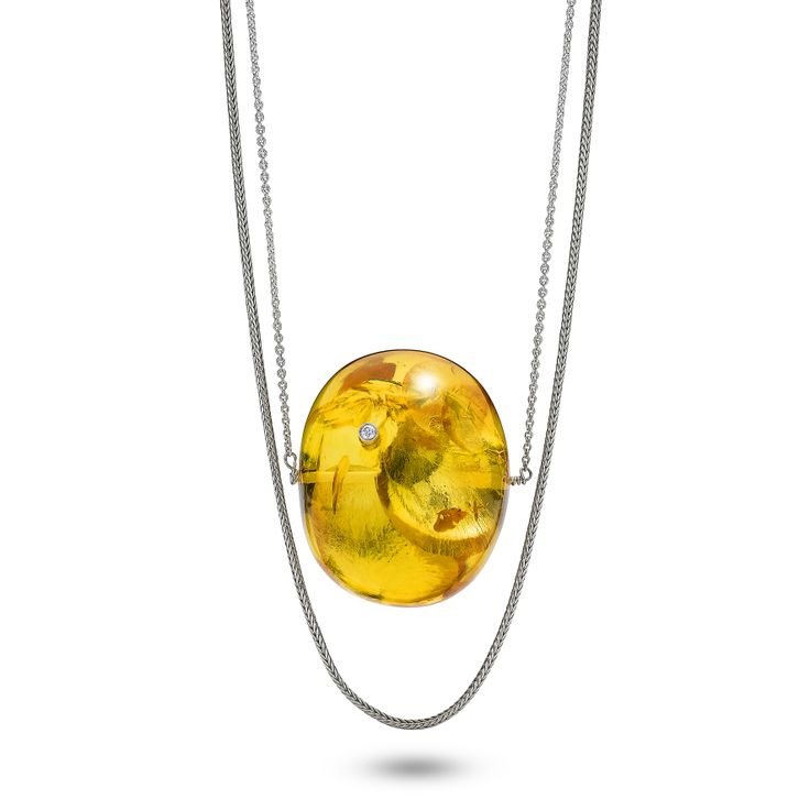 House of Amber by Bukkehave - Big amber bead pendant with diamond and double silver chains.