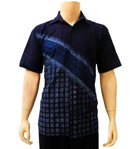 baju kemeja batik pria modern biru
