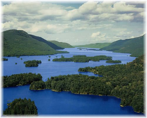 Lake George, NY... surrounded by the Adirondack Mountains... serene location and great for boating