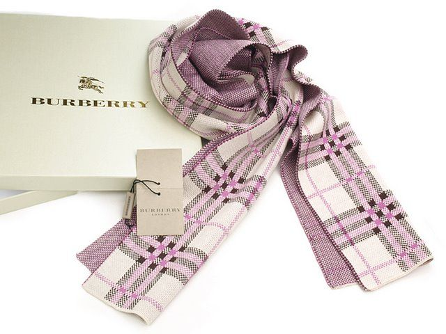 Burberry Cashmere Scarves Pink With White Check Scarf--only $26.99!
