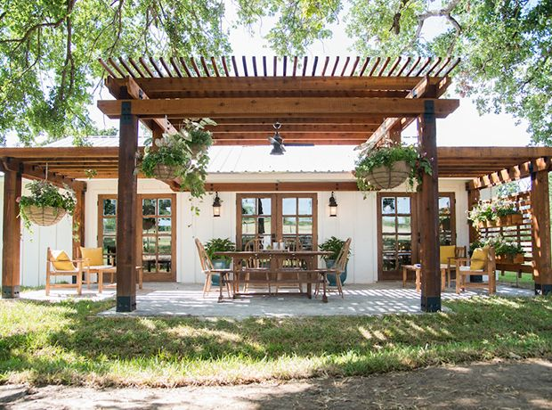 """Building a pergola made for a fun space for the Eberle family to gather together outside for morning coffee or even family meals,"" says designer Joanna Gaines."