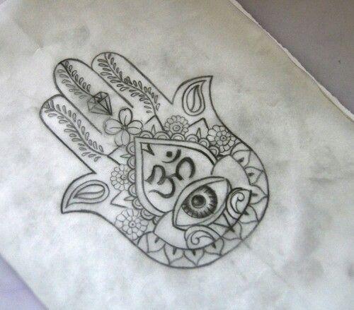 Hand of Fatima.... aka Hansa Hand.... with Om symbol tattoo.... I want this so bad!!!! 😍💗👋🌸👀