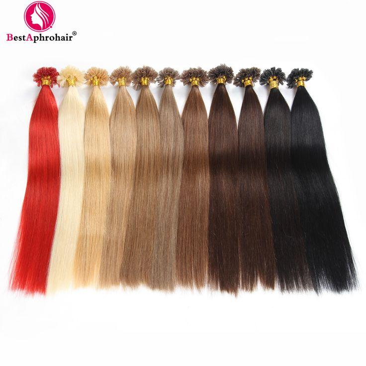 U Tip Hair Extensions Human Hair 0.5 g/1s Remy Human Hair Extension Keratin Nail U Tip Bead 100s U tip Nail Keratin-tipped 100% Human Hair Extension