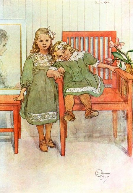 """Minni & Essi"" by Carl Larsson, Swedish artist (1853-1919)"