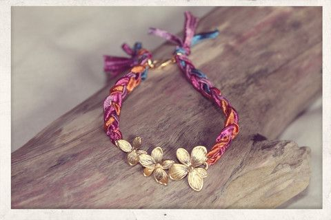 Wreath braid with 14k gold plated flower charm!