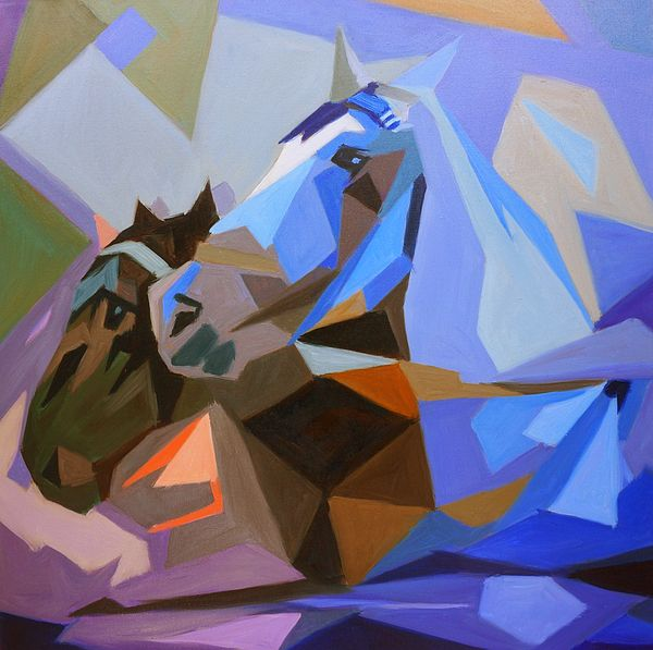 """Coffee and Milk"". Pair of draft horses, Vienna. #Cubist oil painting by Dusan Balara"
