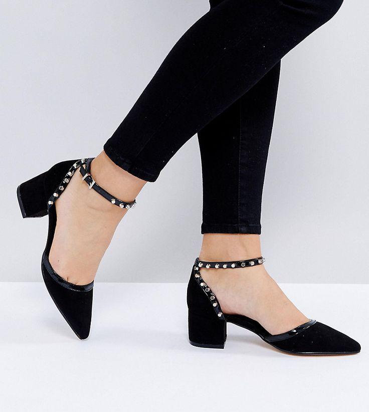 Truffle Collection Wide Fit Stud Trim Kitten heel Shoe - Black