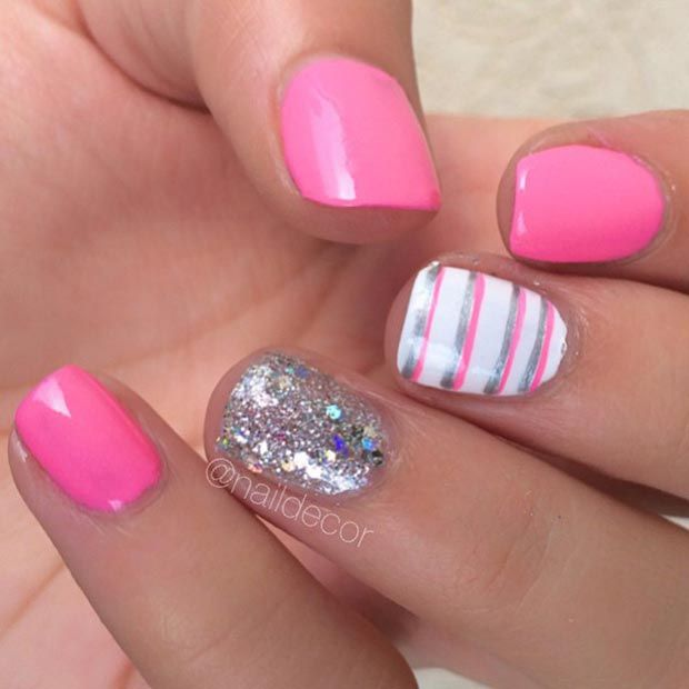 Pink and Sparkly Silver Nail Design for Short Nails
