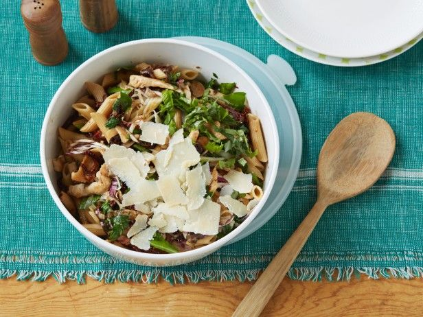 With its long, cylindrical shape and sturdy texture, penne is the pasta of choice for salads with coarsely chopped ingredients. This recipe's chunks of chicken, greens and shards of Parmesan won't overpower the ridged tubes.