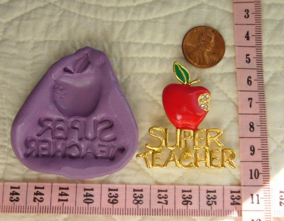 Super Teacher, Apple, Food Safe Silicone Mold Cake Fondant Gum Paste Pastillage Chocolate Candy Sugarcraft Resin Clay Plaster N more by MoldCreationsNmore on Etsy.com