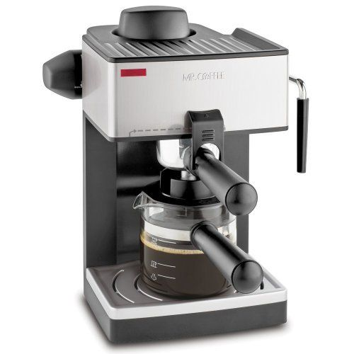 """Mr. Coffee ECM160 4-Cup Steam Espresso Machine, Black with Mini Tool Box (fs) by Mr Coffee Espresso Machines. $129.99. Makes delicious espressos, cappuccinos, and lattes. Powerful milk frother. 4-Cup capacity: 20-ounce. Per shot. Removable drip tray. Easy to pour decanter. Removable frothing aid. On/off indicator light.   Comes with Mini Tool Box. Great for storing any miscellaneous items or your spare change.  Overall dimensions: 4 1/2"""" x 2 1/2"""" x 2 3/4"""".  Mini ..."""
