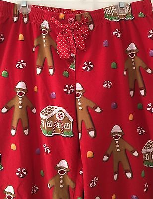 Nick And Nora Large Flannel Sleep Lounge Pants Red Gingerbread Sock Monkey