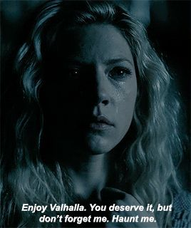 Lagertha devastated by Ragnar's death, saying goodbye to his ghost that visited her when he died.