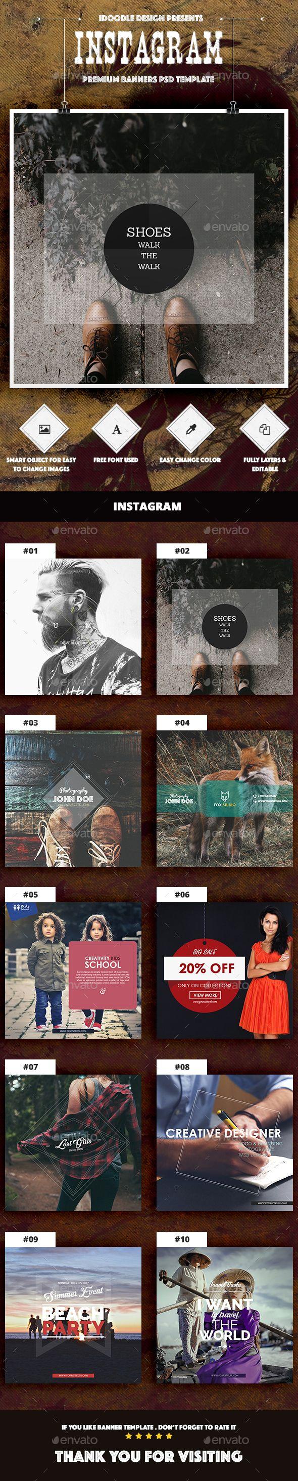Multipurpose Instagram Ad Template PSD #design Download: http://graphicriver.net/item/multipurpose-instagram-ad/13616367?ref=ksioks