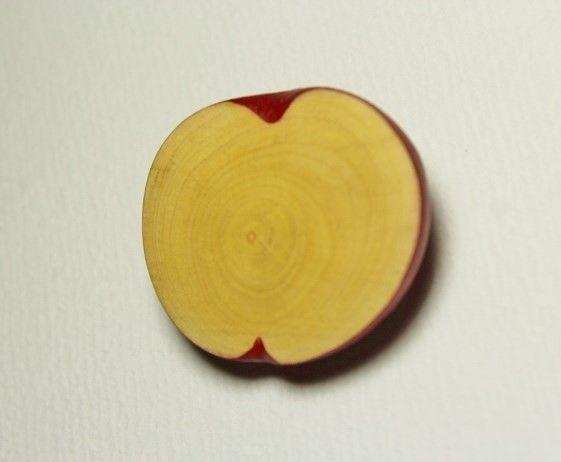 林檎の木で作った林檎のブローチです。側面等はアクリル絵の具で着彩してあり、表面は着彩せずに磨いてワックスで仕上げおり、林檎の木そのものの色です。木(林檎の木)...|ハンドメイド、手作り、手仕事品の通販・販売・購入ならCreema。