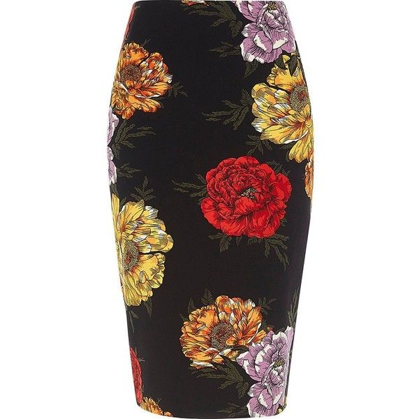 River Island Black floral print pencil skirt (799.440 IDR) ❤ liked on Polyvore featuring skirts, black, midi skirts, women, midi skirt, high-waist skirt, floral-print pencil skirts, high waisted knee length skirt and pencil skirt