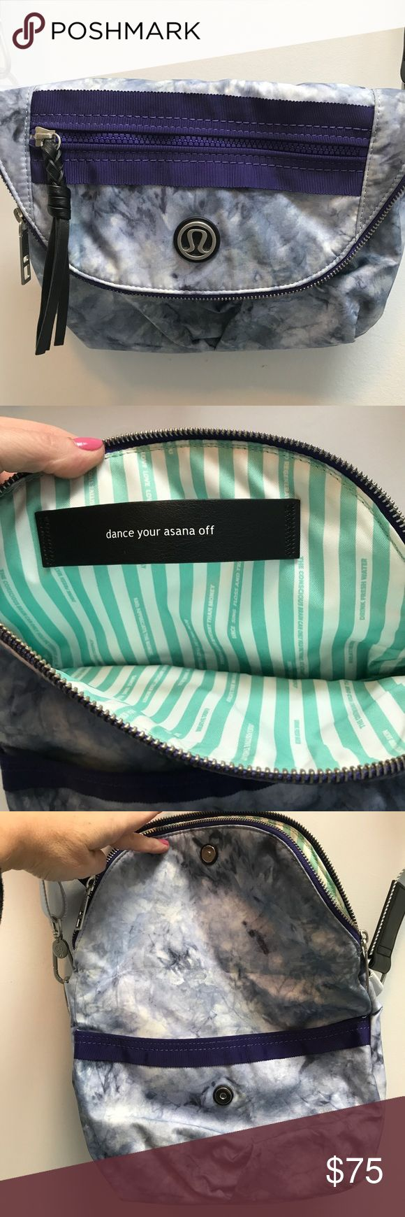 """Lululemon Crossbody Bag Dance Your Asana Off Brand new without tags. The color is purple the inside has words like love dance travel drink fresh water.  Pocket in the front and back  unzip to find a huge inside with another zip pocket and a mesh one  strap is adjustable.  Length folded is 9""""  unfolded is 14""""  acrossis about 11""""  the strap drop as shown in the pictures is 15"""" lululemon athletica Bags Crossbody Bags"""