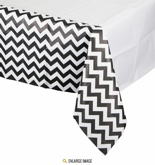 Black And White Chevron Paper Tablecover Measures 54 Inches X 102 Inches