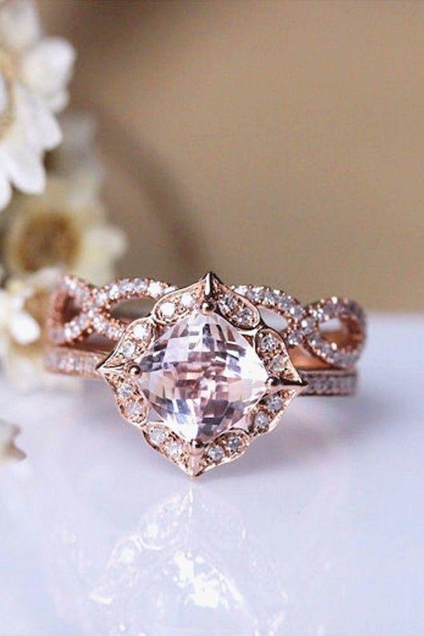 Affordable Engagement Ring Unique Vintage Rose Gold Engagement Ring And Wedding Band E Engagement Rings Affordable Wedding Rings Vintage Wedding Rings Unique