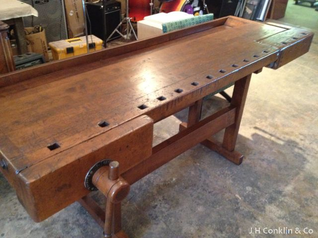 Traditional Foyer Bench : Traditional workbench refinished to serve as a foyer table