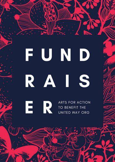 Red Illustrated Floral Art Fundraiser Flyer Digital Flyer design