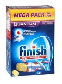 Finish Quantum Dishwasher Tablets 60 Tablet Mega Pack Lemon Finish Quantum delivers outstanding cleaning and contains Ultra Shine Technology to actively fight watermarks & cloudy spots for an amazing clean & shine. Lemon scented.
