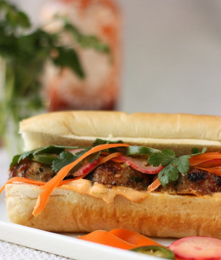 Pork Meatball Banh Mi | Just a Sandwich Please | Pinterest
