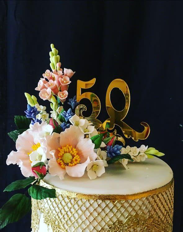 Golden anniversary cake by The Hot Pink Cake Studio by Ipshita - http://cakesdecor.com/cakes/303334-golden-anniversary-cake