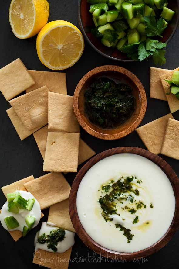 Creamy Whipped Feta Dip with Mint Parsley Pesto and Cucumbers / Gourmande #food