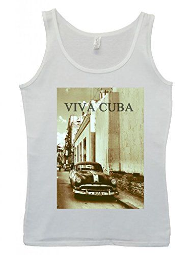 Viva Cuba Classic Car Retro Vintage Cool Funny Hipster Swag White Blanc Femme Women Tricot de Corps Tank Top Vest-Medium: Tweet 100% Soft…