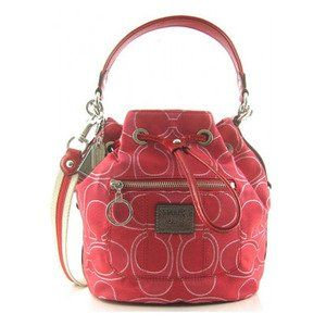 Coach Signature Poppy Cinch Drawstring Pack Bag