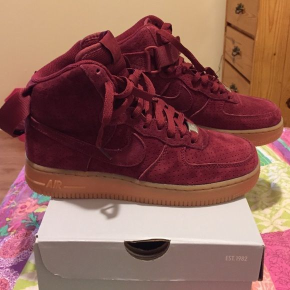 Suede Burgundy Air Force Ones//// Unisex AF1 High MAKE OFFERS Nike Shoes Athletic Shoes