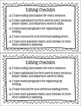 Lucy Calkins Editing Checklist – Student Handouts