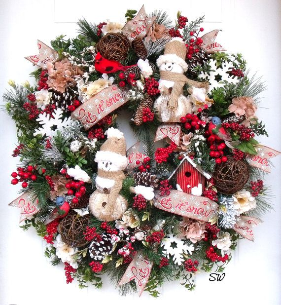 Christmas WreathWinter WreathSnowman by SeasonalWreaths on Etsy