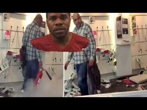 Not happy with your contract, sir? Man caught on camera as he smashes up mobile phone shop in bizarre rampage