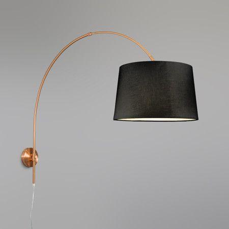 Aplique arco cobre mate con pantalla 40cm negro - Lámpara ideal para situar sobre una mesa con una preciosa pantalla en color negro. Se puede ajustar la altura (longitud 63-108cm). Incluye la pantalla que ilumina hacia abajo.
