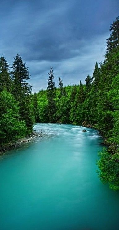 Beautiful turquoise waters of the Wedeene River near Kitimat in British Columbia, Canada • photo: Doug Keech on FineArtAmerica                                                                                                                                                      More