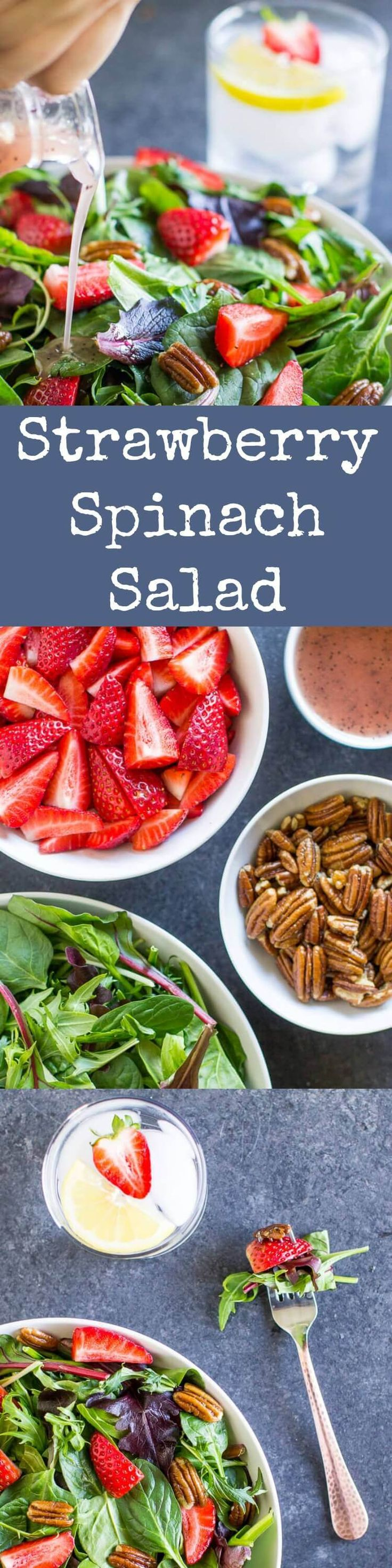 A fresh and easy Strawberry Spinach Salad with crunchy pecans and a sweet poppy seed dressing. Makes a great lunch and is perfect for parties! Naturally vegan and gluten free.