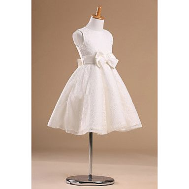 Vestido de niña de las flores - Corte Princesa Hasta la Rodilla - Satén/Tul Sin Mangas – MXN $ 1,121.81