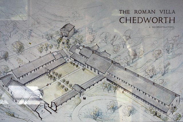Roman Chedworth Villa England.  Used by Romans to denote a villa set in the open countryside, often as the hub of a large agricultural estate (latifundium). The adjective rusticum was used to distinguish it from an urban or resort villa. Thus serve both as a residence of the landowner and his family (and retainers) and also as a farm management centre. It would often comprise separate buildings to accommodate farm labors and sheds and barns for animals and crops.