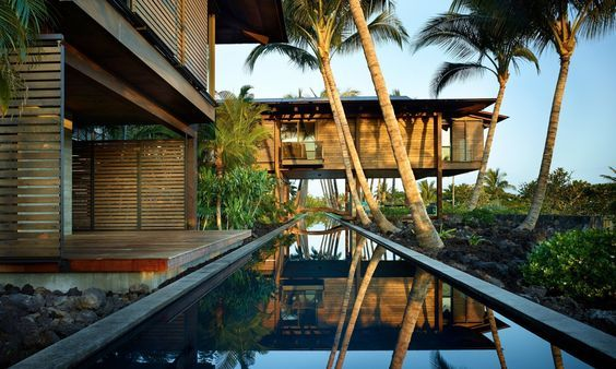 Tropical Residential Modernist Architecture, Hawaii. Wood, Coconut