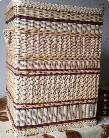 Поделка изделие Плетение Корзины Бумага газетная Картон гофрированный Трубочки бумажные фото 10