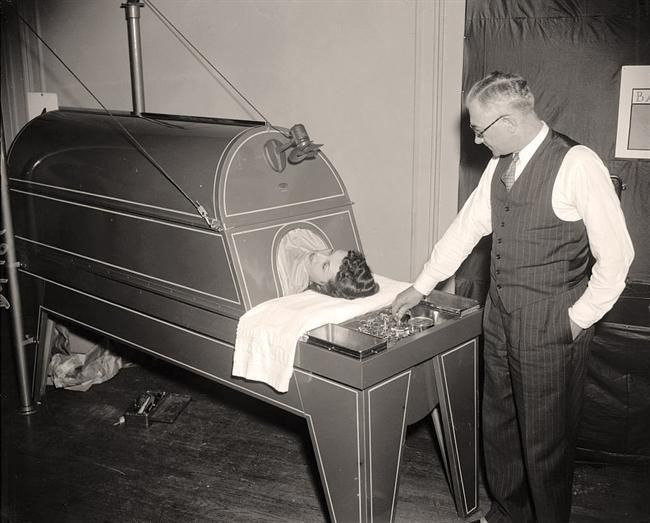 Iron Lung.  It was taken in 1938 by Harris & Ewing. The picture presents Marie Passapae, C. Coy Honsaker