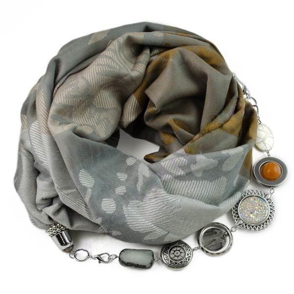 Кашемировый шарф-ожерелье (бежевый/серый) Производство: Чехия Размеры: 70x175+50cм Состав: 60% кашемира, 40% вискоза  Полный каталог шарфов: ШАРФ-ОЖЕРЕЛЬЕ.РФ