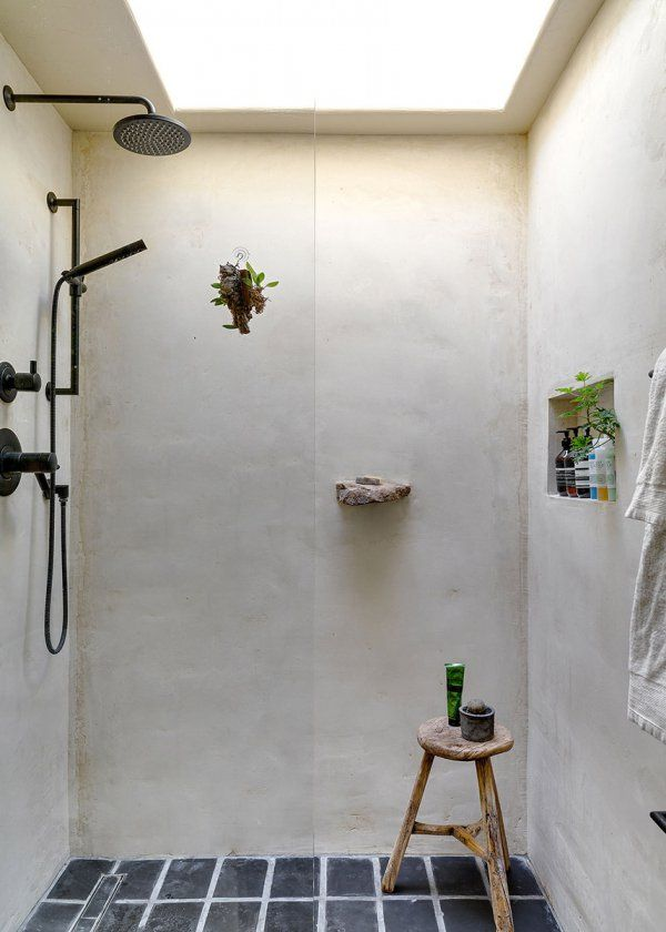 Douche à l'italienne à l'esprit naturel / Natural style for the bathroom