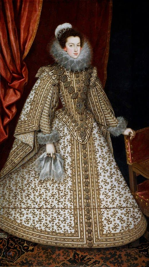 """Rodrigo de VILLANDRANDO, """"Retrato de la Princesa Doña Isabel de Borbón y Médicis, Infanta de Francia y de Navarra, Reina de las Españas y de las Indias, Reina de Portugal y de los Algarves, Reina de Nápoles y Sicilia, Reina de Cerdeña, Soberana de los Países-Bajos (1602-1644)""""; óleo sobre lienzo, 1620-1621."""