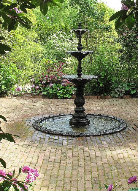 Care must be taken at the design phase to ensure your fountain surround is large enough to collect the water for recirculation. A membrane can be run out under permeable surfaces to allow collection outside the perceived edge.