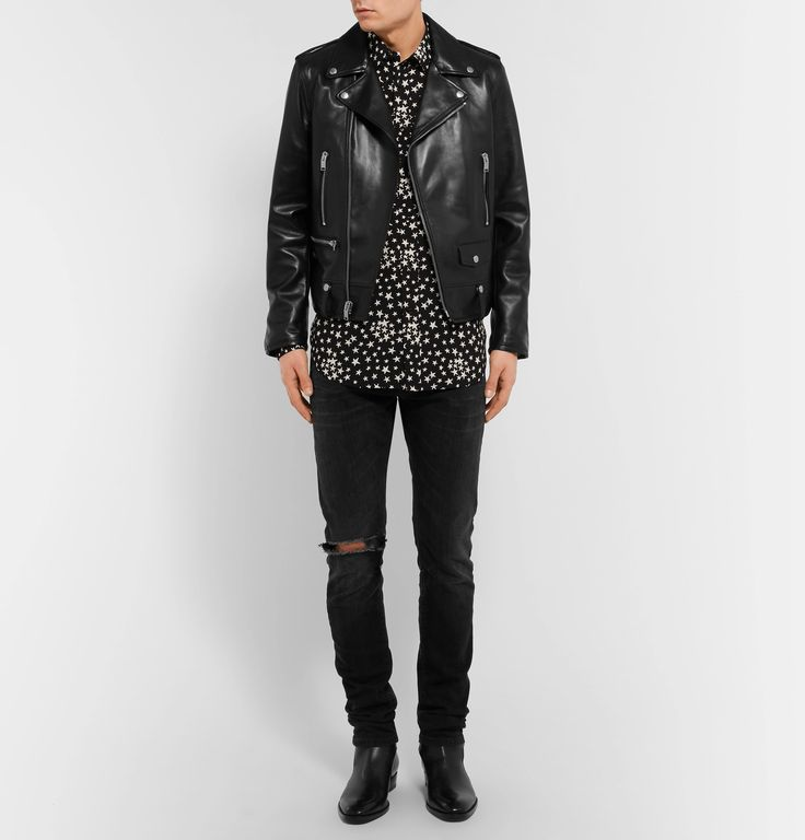 This star-print shirt is typical of <a href='http://www.mrporter.com/mens/Designers/Saint_Laurent'>Saint Laurent</a>'s youthful aesthetic. The lightweight voile and relaxed shape make it superbly comfortable, while removable collar stays keep it looking smart. Button it up or leave open and team with drainpipe denim to perfect the label's rock 'n' roll formula.